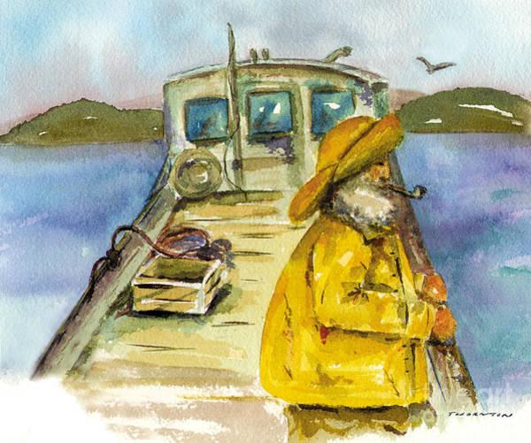 Fisherman Half Moon Bay Poster