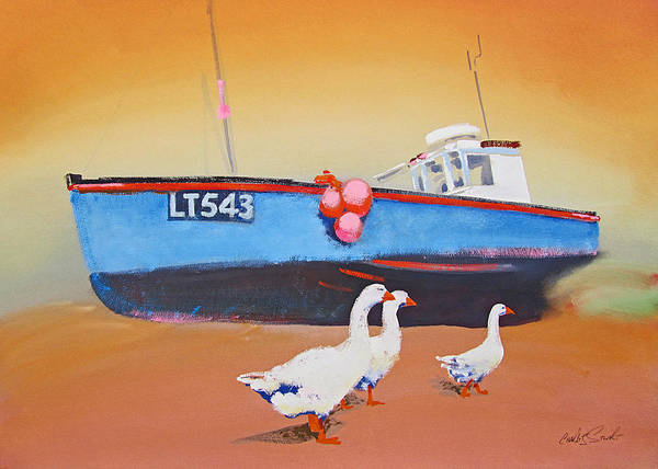 Fishing Boat Walberswick With Geese Poster