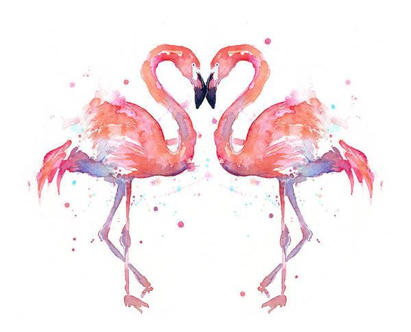 Flamingo Love Watercolor Poster