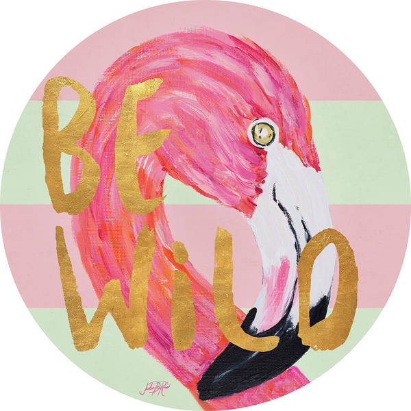 Flamingo On Stripes Round Poster
