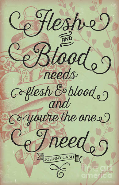 Flesh And Blood - Johnny Cash Lyric Poster