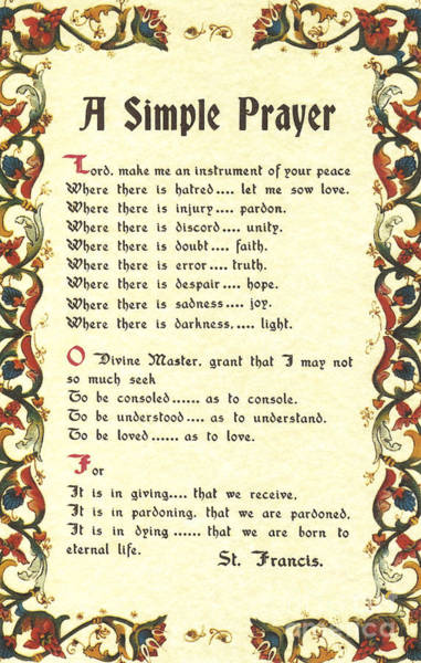 Florentine Simple Prayer For Peace By Saint Francis Of Assisi Poster