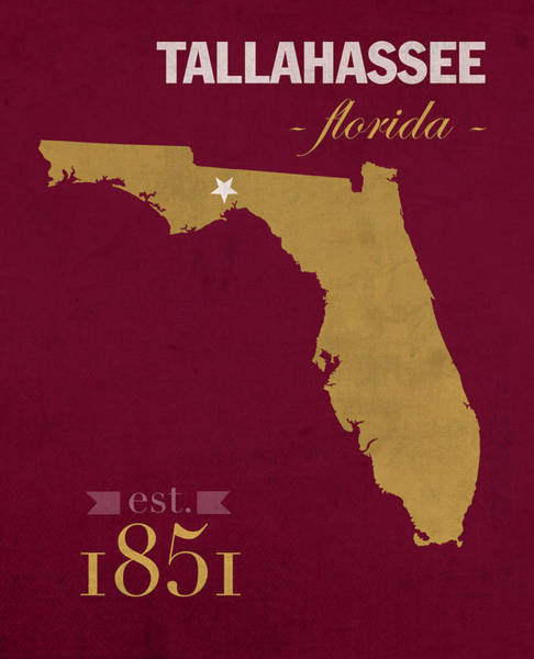 Florida State University Seminoles Tallahassee Florida Town State Map Poster Series No 039 Poster