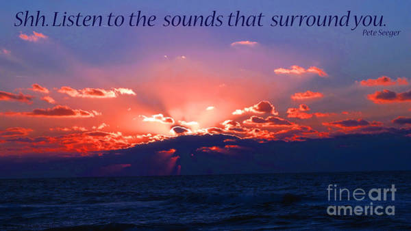 Florida Sunset Beyond The Ocean - Shh Poster