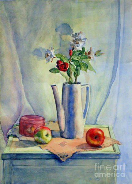 Flowers In Pitcher With Apples Poster
