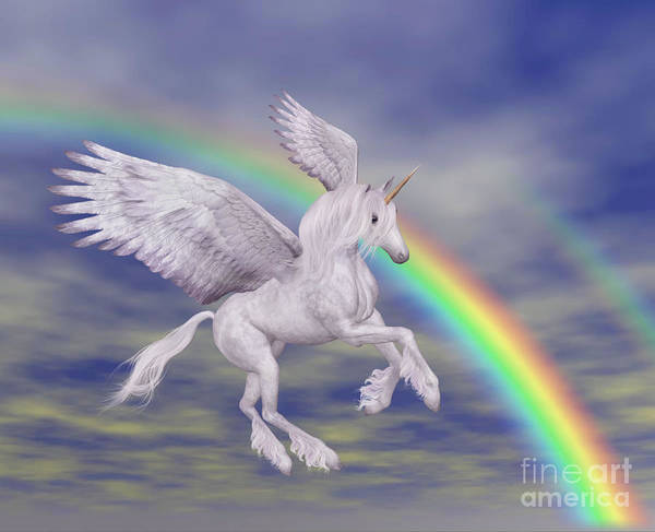 Flying Unicorn And Rainbow Poster