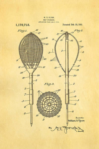 Flynn Merion Golf Club Wicker Baskets Patent Art 1916 Poster