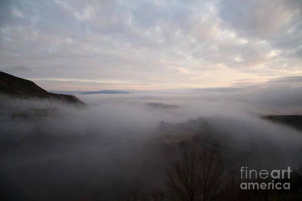 Fog At Sunrise In Jerome Arizona With San Francisco Peaks Of Flagstaff In The Distance Poster