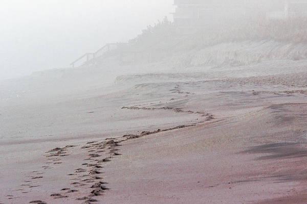 Foggy Beach At Dawn Poster