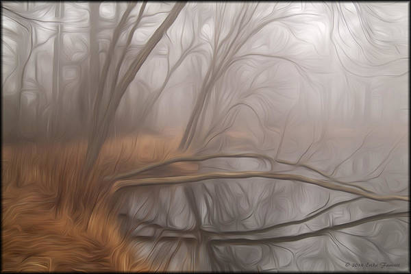 Foggy Fall Morning Poster