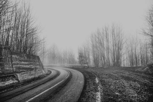 Poster featuring the photograph Foggy Road by Mirko Chessari