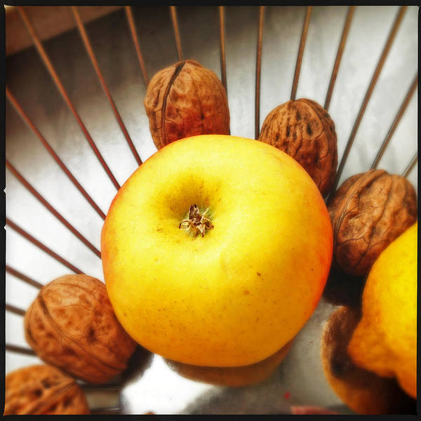 Food Still Life - Yellow Apple And Brown Walnuts - Beautiful Warm Colors Poster