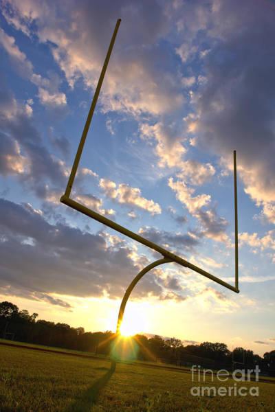 Football Goal At Sunset Poster