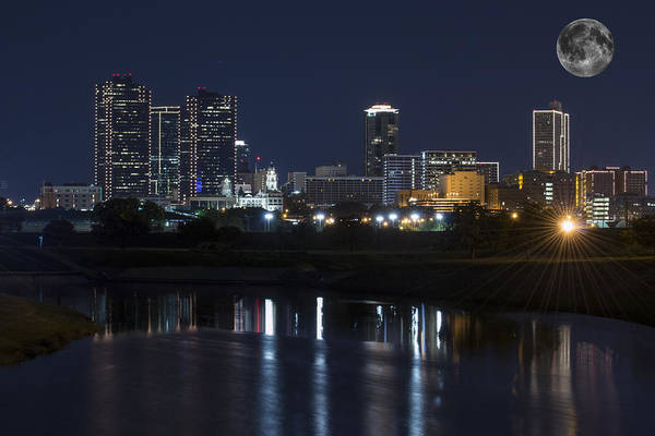Fort Worth Skyline Super Moon Poster