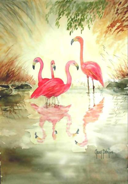 Four Flamingos Poster
