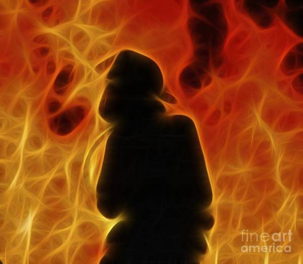 Fractalius Fiery Firefighter Poster