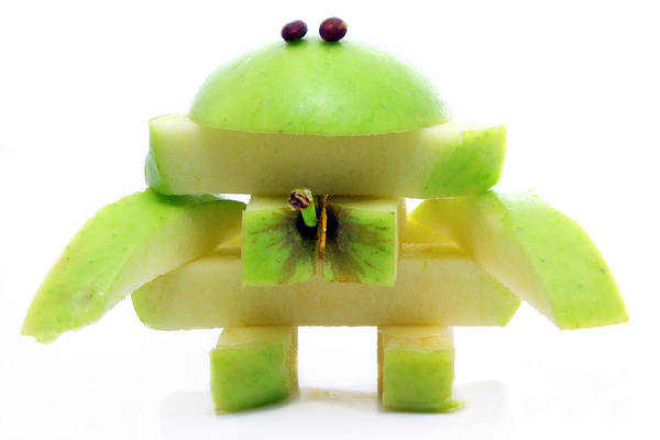 Friendly Apple Monster Made From One Apple Poster