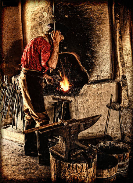 Frontier Blacksmith At The Forge Poster