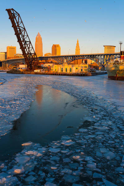 Frozen Cleveland Flats Skyline At Sunset Poster