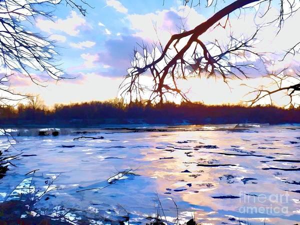 Frozen Delaware River Sunset Poster