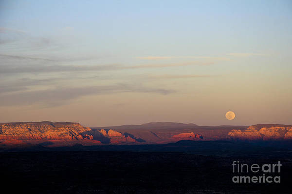 Full Moonrise Over Red Rocks Of Sedona Poster