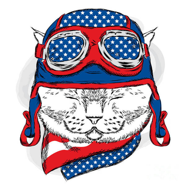 Funny Cat In The Hat And Scarf. Vector Poster