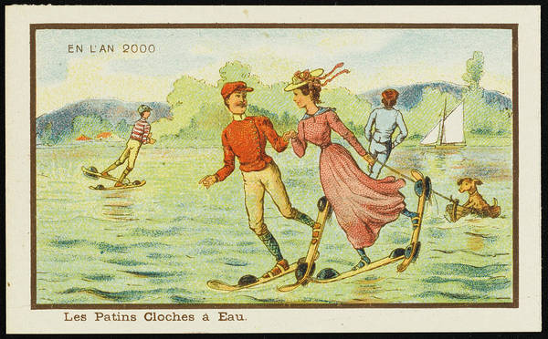 Futuristic Water Skiers Taking A Turn Poster