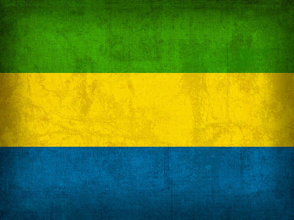 Gabon Flag Vintage Distressed Finish Poster
