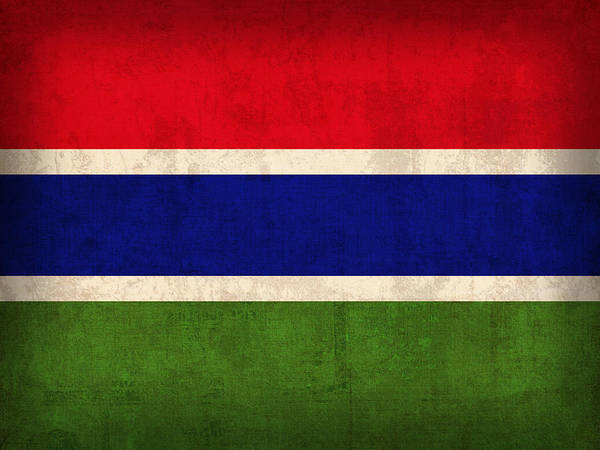 Gambia Flag Vintage Distressed Finish Poster