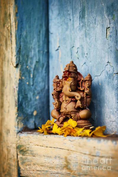 Ganesha Statue And Flower Petals Poster