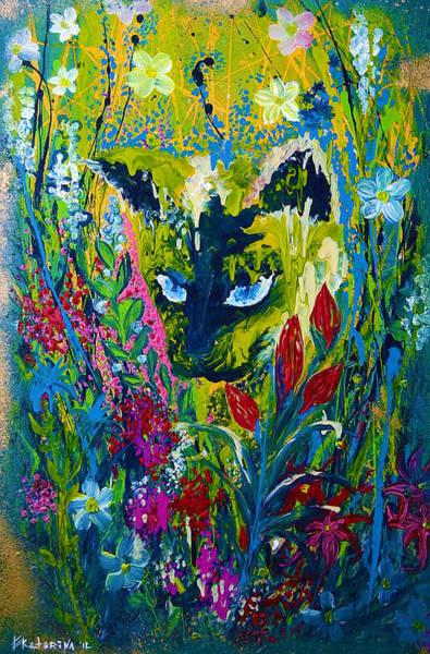 Garden Hunter Cat Painting Poster