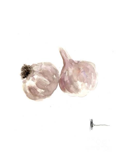 Garlic Watercolor Art Print Painting Poster
