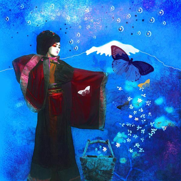 Geisha With Butterflies Poster