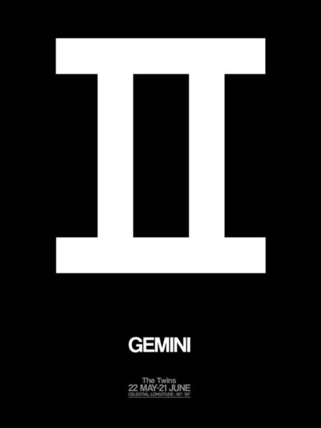 Gemini Zodiac Sign White Poster