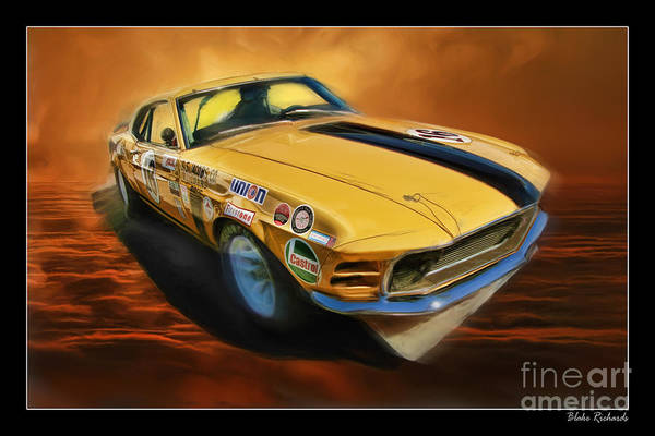 George Follmer 1970 Boss 302 Ford Mustang Poster
