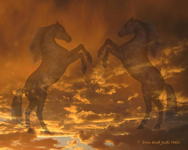 Ghost Horses At Sunset Poster