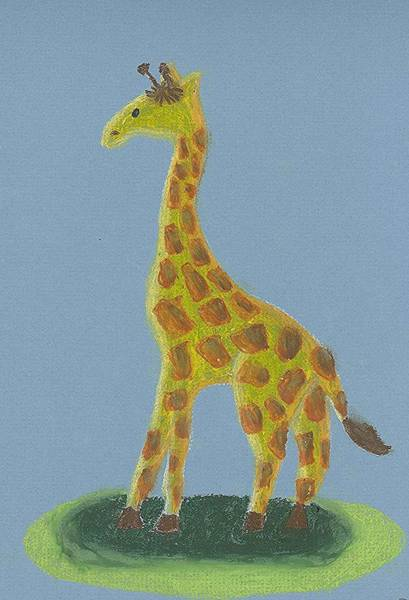 Poster featuring the drawing Giraffe Gazing by Fred Hanna