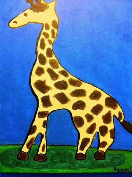 Poster featuring the painting Giraffe by Fred Hanna