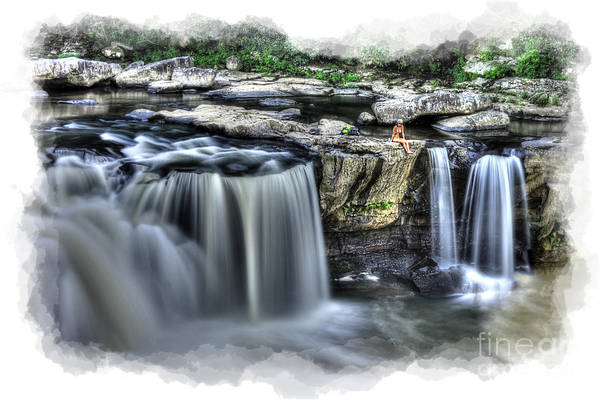 Girl On Rock At Falls Poster