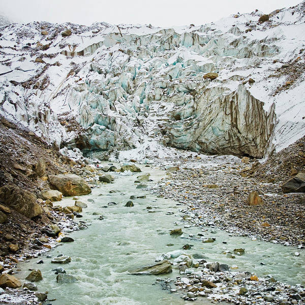 Glacier And River In Mountain Poster