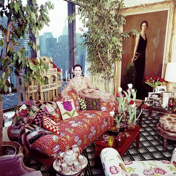 Gloria Vanderbilt In Her Living Room Poster