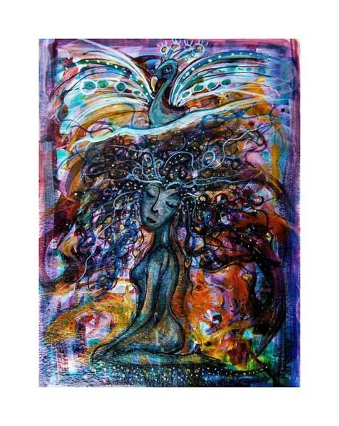 Goddess And Peacock Poster