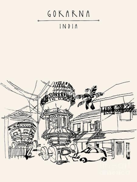 Gokarna, Karnataka, India. Vector Poster