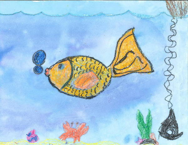 Poster featuring the drawing Gold Fish by Fred Hanna