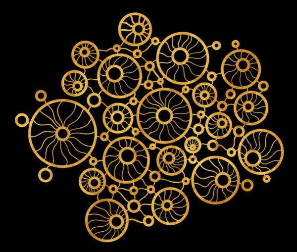 Golden Circles Black Poster