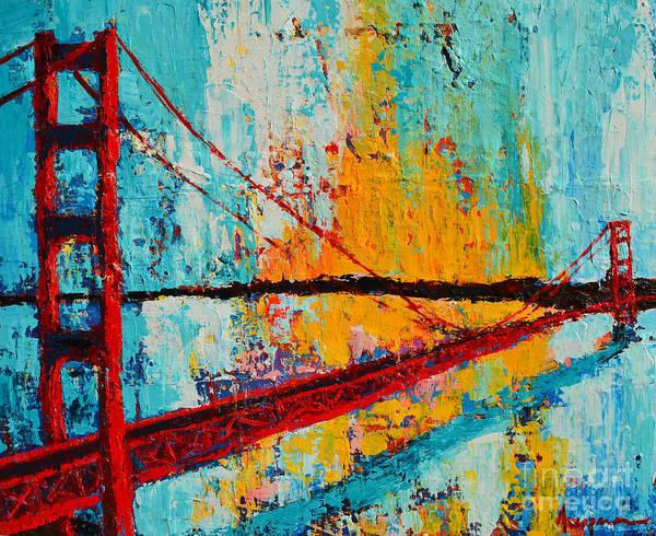 Golden Gate Bridge Modern Impressionistic Landscape Painting Palette Knife Work Poster