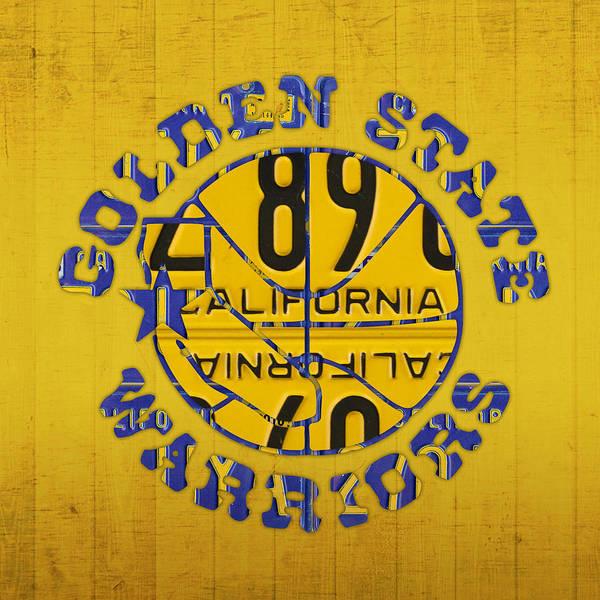Golden State Warriors Basketball Team Retro Logo Vintage Recycled California License Plate Art Poster