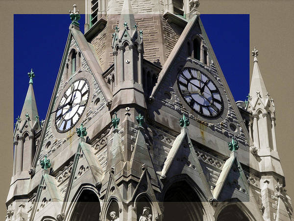 Gothic Church Clock Tower Spire Poster