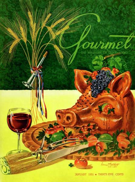 Gourmet Cover Featuring A Pig's Head On A Platter Poster