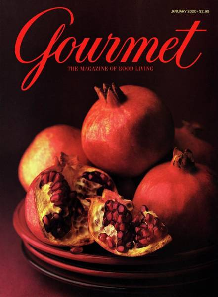 Gourmet Cover Featuring A Plate Of Pomegranates Poster